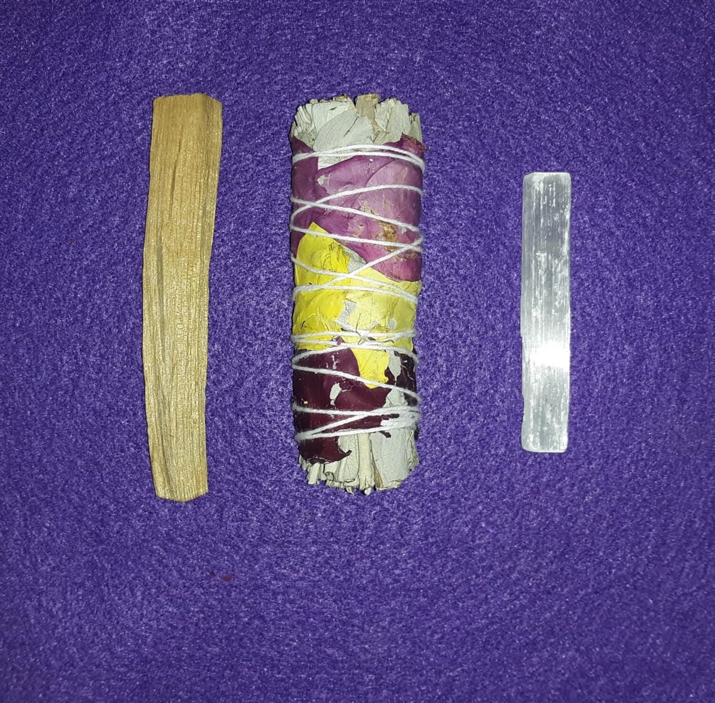 Palo Santo Rose-Wrapped Sage, & Selenite Bundle