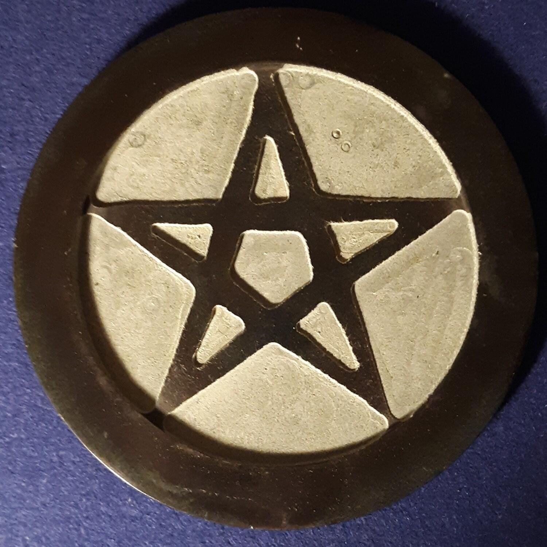 """Pentacle Carved 6"""" Soapstone Altar Tile"""