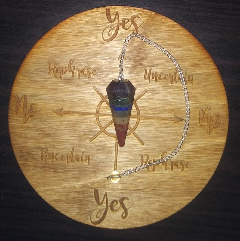 Medium Pendulum Board & Seven Chakra  Pendulum Set