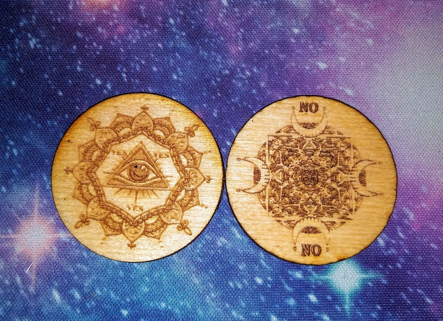 Engraved Wooden Oracle Coin