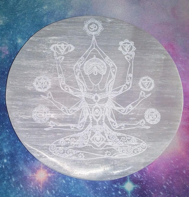 Selenite Engraved Charging Disc - Chakra Meditation