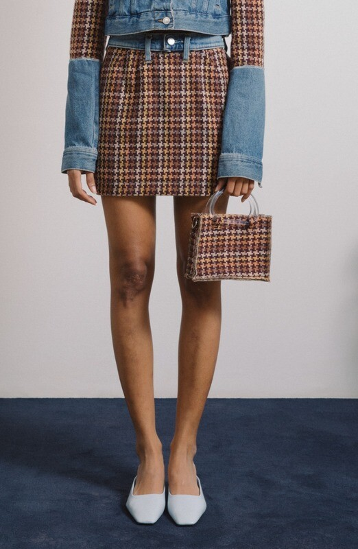 Tweed Mini Skirt with Denim Details (Size XS)