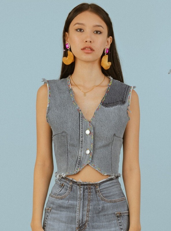 The Fitted Denim Vest (S)