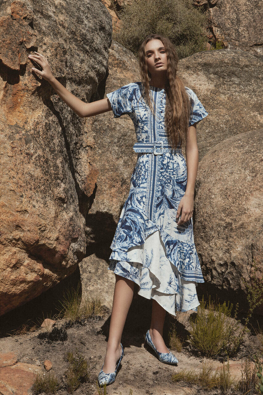 ALEIAH Asymmetrical Frill Dress