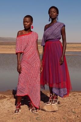 TIYE RED COMBO HUE MOHAIR COTTON DRESS