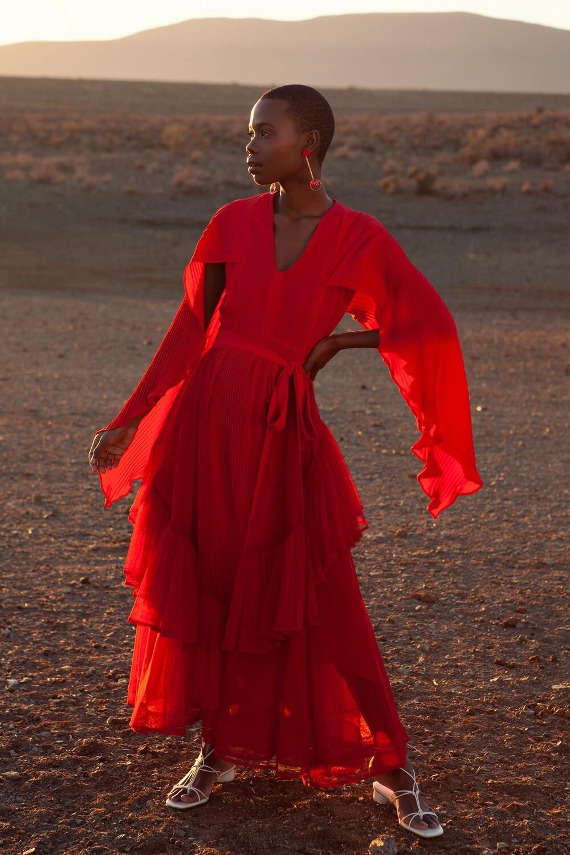 ADAH PLEATED GEORGETTE ASYMMETRICAL DRESS RED