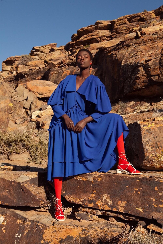 ISIS RUFFLE GEORGETTE OVERSIZED DRESS BLUE