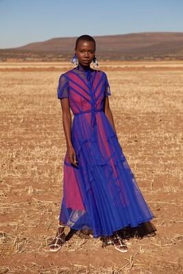 SOPHIE SEAM BINDED SHEER TULLE DRESS BLUE