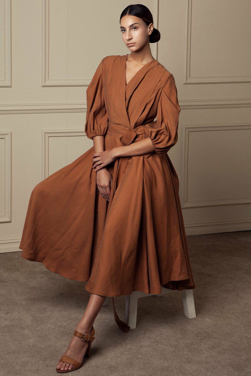 Willa pleated volume dress