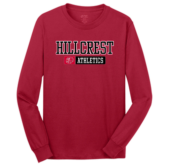 HILLCREST Middle School- Long Sleeve - Port &  Company Core Cotton  - Available in RED, BLACK, and ATHLETIC HEATHER
