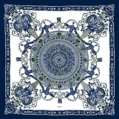 manipuri シルクスカーフ 65×65cm GOTHIC BLUE