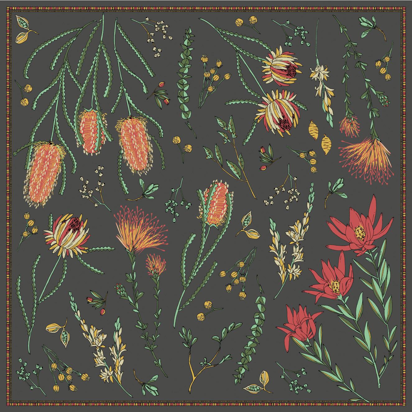 manipuri スカーフ 88×88cm NATIVE FLOWER  BLACK