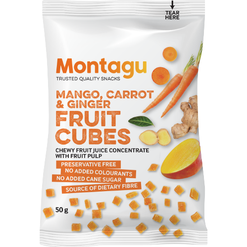 Montago Mango Carrot & Ginger Fruit Cubes 50g