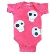 Raspberry Skulls Onsie (Size 18 months)