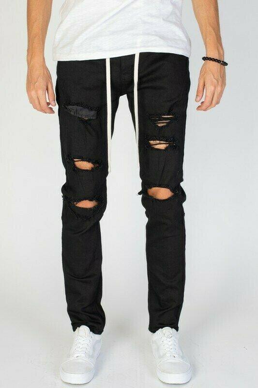 Black DESTROYED PANTS W/DRAWSTRING