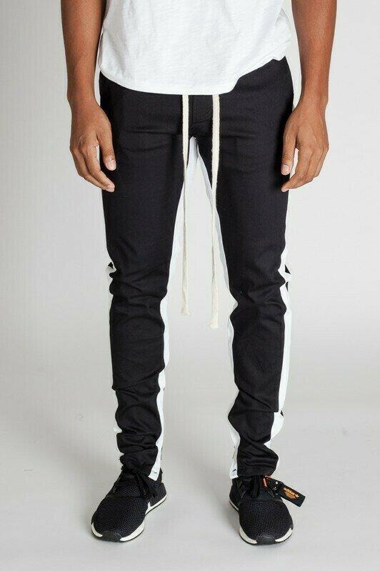 Black/ White Striped Ankle Zip Pants