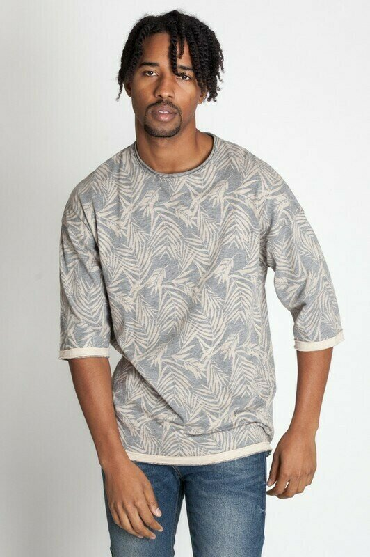 Desert Grey Men's Cut Edge Drop Shoulder Tee Slub Jersey