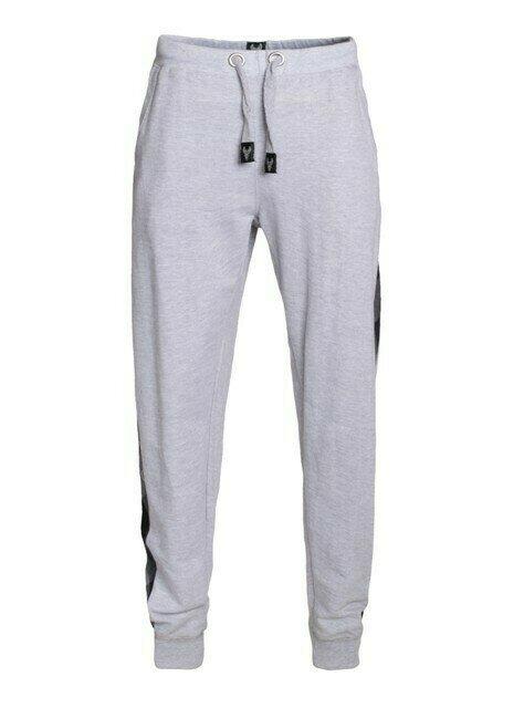 Grey Jogger Pant w Flannel Stripe