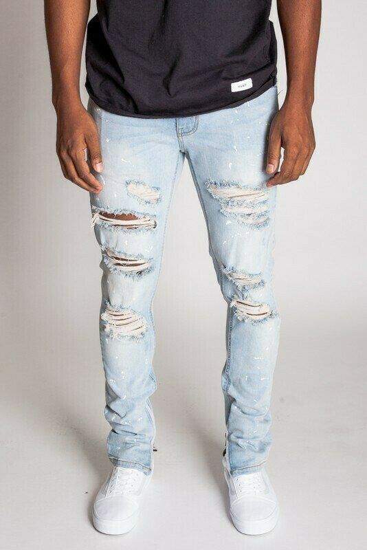 LT Blue PAINT SPLATTER DESTROYED ANKLE ZIP JEANS