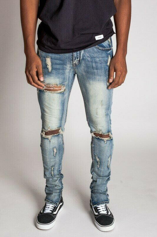 Medium Blue Distressed Ankle Zip Jeans