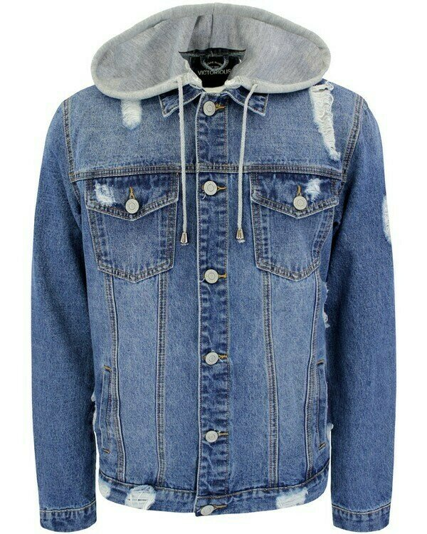 Men's Detachable Hood Denim Jacket