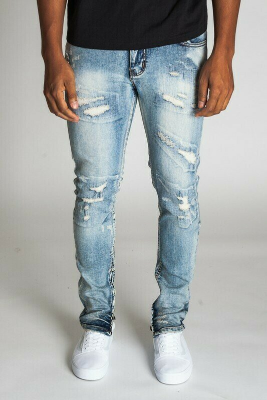 RIPPED & REPAIRED ANKLE ZIP JEANS