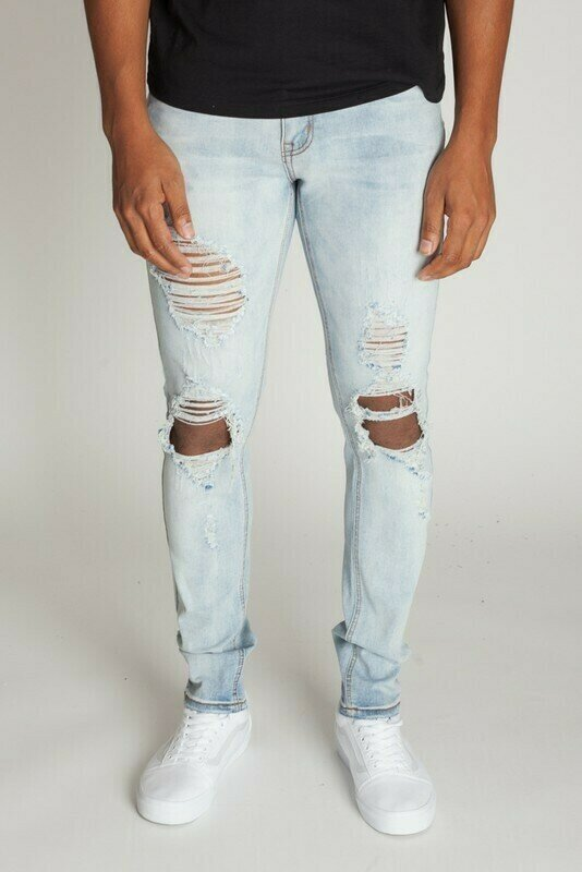 Vintage LT Blue KNEE DISTRESSED SKINNY JEANS