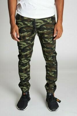 Drop Crotch Twill Side Stripe Camo Jogger