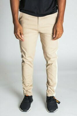 Khaki Striped Taper Fit Chino Pants