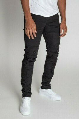 Black DESTROYED SKINNY FIT TWILL PANTS​