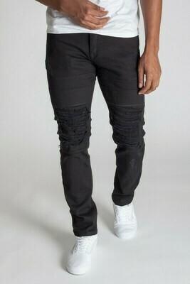 Black Distressed Knee Slim Pants