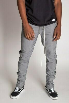 Black Satin Striped Plaid Track Pants