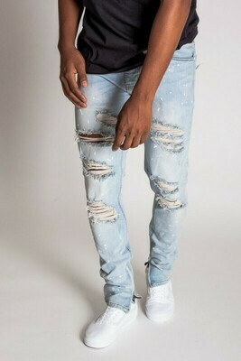 PAINT SPLATTER DESTROYED ANKLE ZIP JEANS