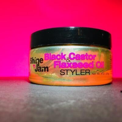 Shine'n Jam Black Castor & Flaxseed Oil Styler 8oz
