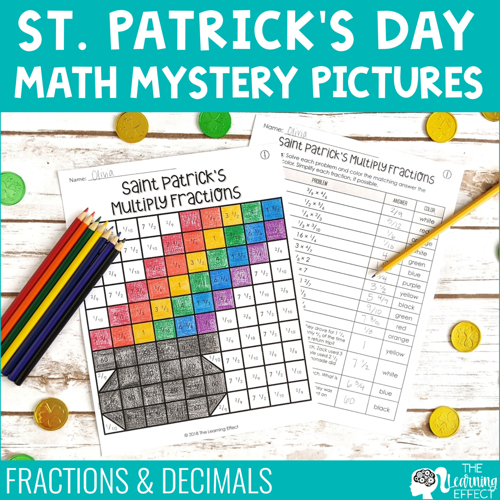 St. Patrick's Day Math Mystery Pictures | Fractions and Decimals