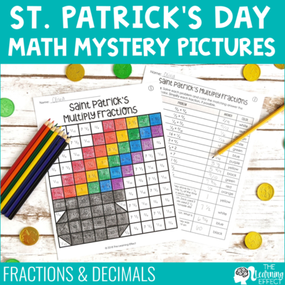 St. Patrick's Day Math Mystery Pictures [Fractions, Decimals]