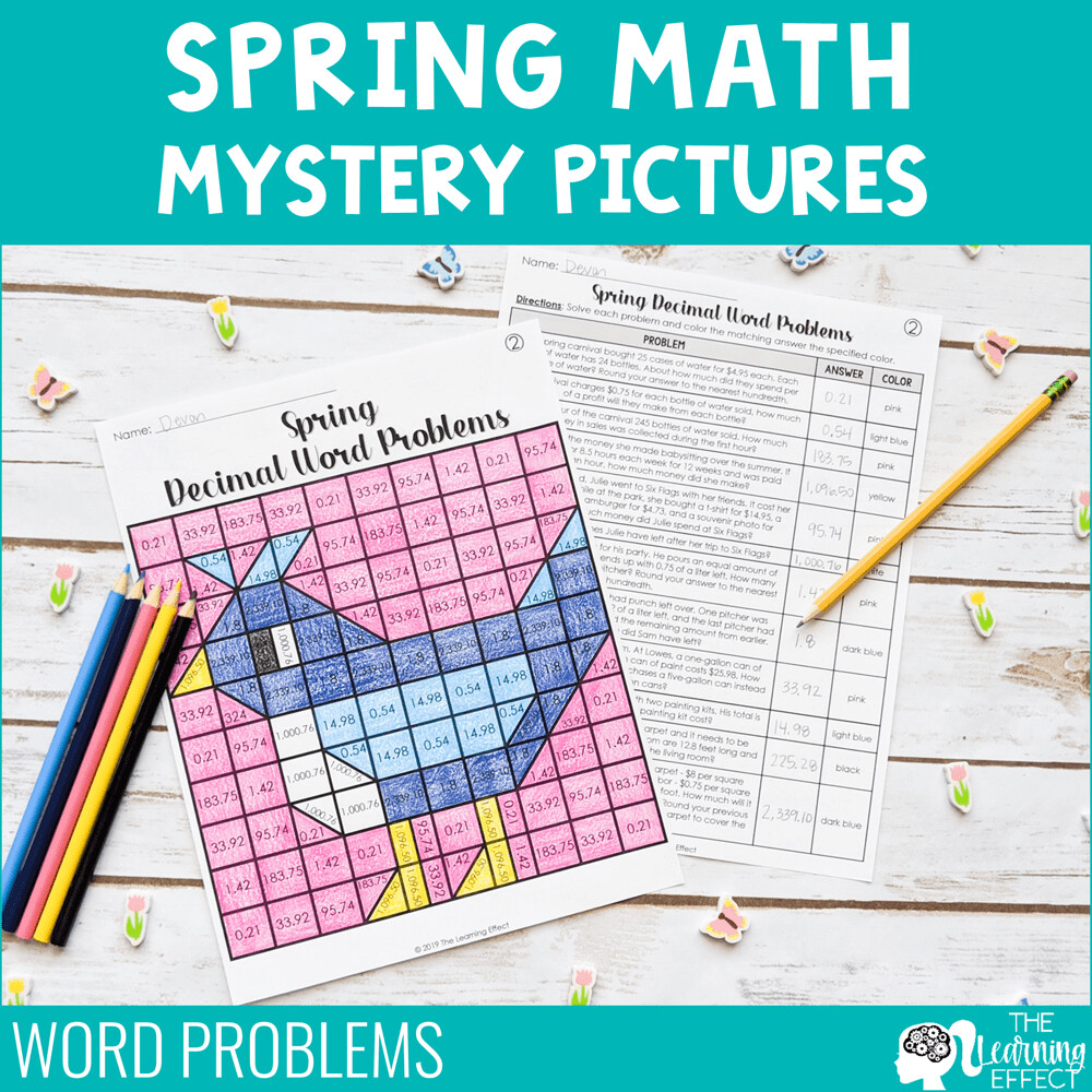 Spring Math Mystery Pictures | Word Problems