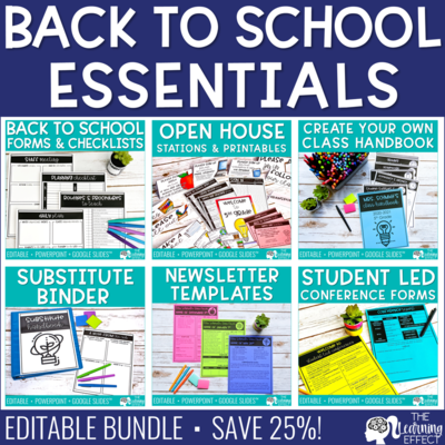 Back to School Forms, Printables, & Checklists BUNDLE [Editable]