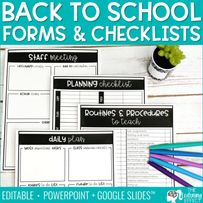 Back to School Forms and Checklists [Editable]