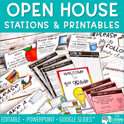 Open House Meet the Teacher Stations and Printables [Editable]