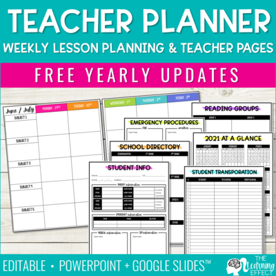 Editable Weekly Lesson Plan Templates | Teacher Planner Pages and Forms
