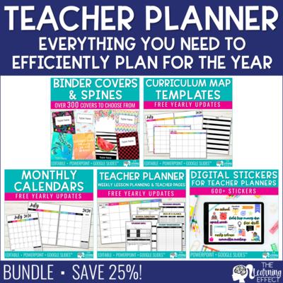 Editable Teacher Planner Binder BUNDLE | Printable & Digital | FREE Updates