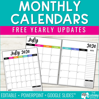 Editable Monthly Calendars 2020-2021 | Free Yearly Updates