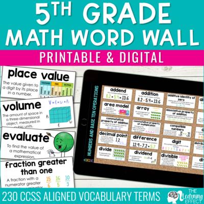 5th Grade Math Word Wall | Printable and Digital Google Slides