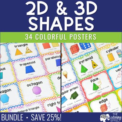 2D and 3D Geometric Shape Posters BUNDLE