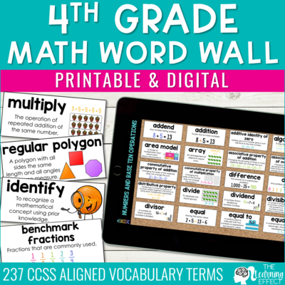 4th Grade Math Word Wall | Printable and Digital Google Slides