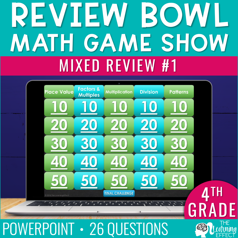 4th Grade Math Review #1 Game Show   End of Year