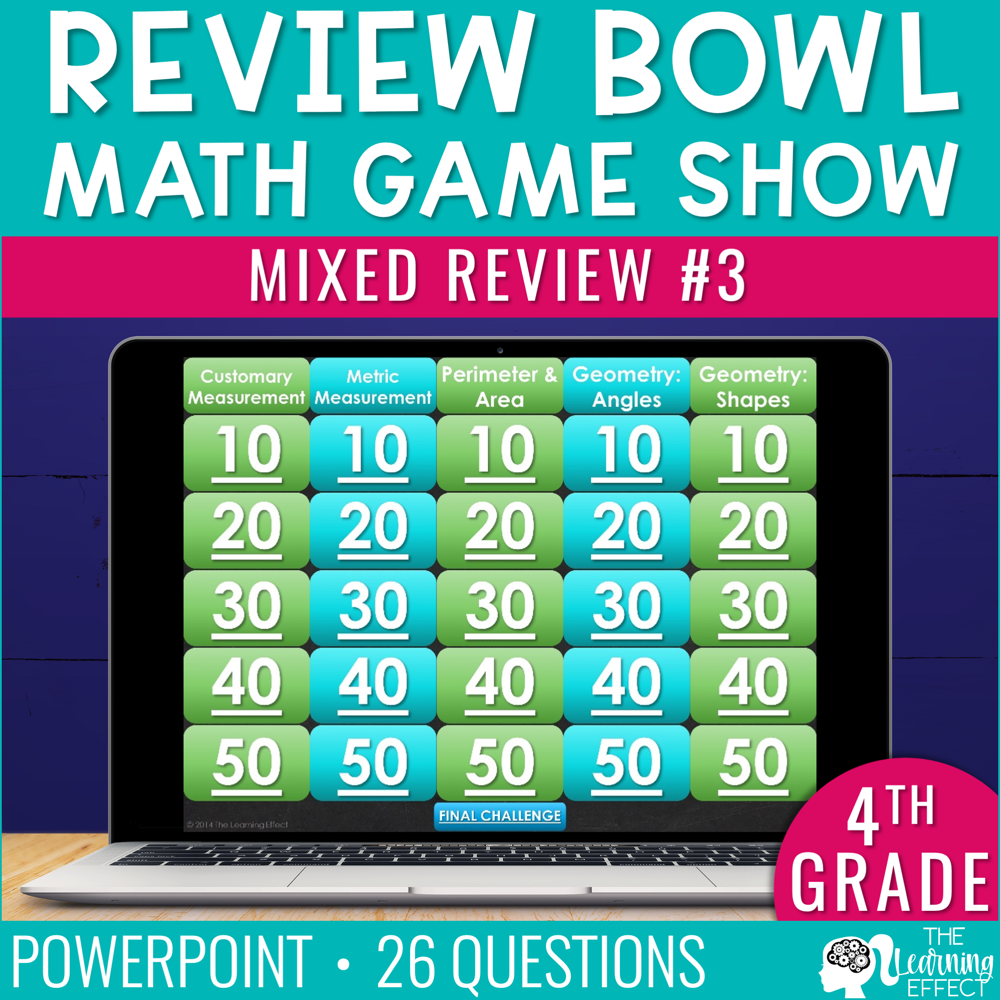4th Grade Math Review #3 Game Show | End of Year