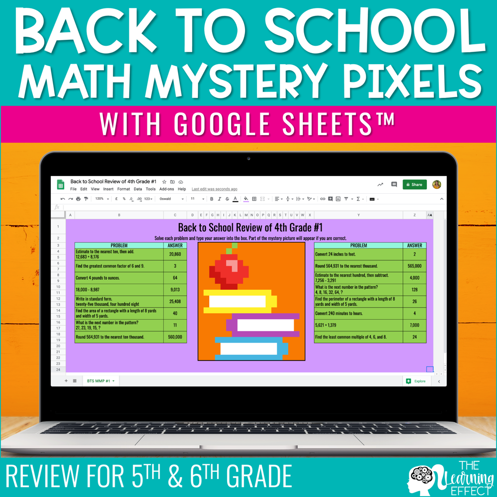 Back to School Math Mystery Pixels Google Sheets | Review for 5th & 6th Grade
