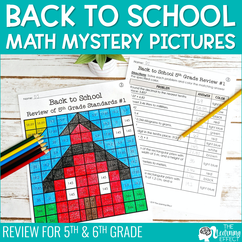 Back to School Math Mystery Pictures | Review for 5th & 6th Grade